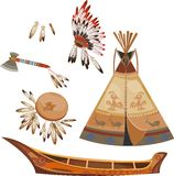 Indian set. With tepee, headdress,  frame drum, battle-ax and canoe Stock Photos