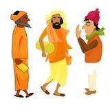 Indian set Yogi man in the orange garb vector illustration Royalty Free Stock Images