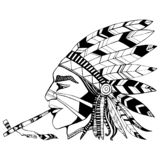 Indian shaman in ethnic costum smokes a pipe of peace coloring p vector illustration