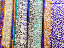 Indian shawls in a market Stock Image