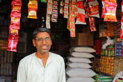 Indian Shop Keeper. Image of an Indian Shop keeper, in Karauli Stock Image