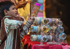 Indian shop selling bangles Stock Images