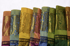 Indian silk. With gold / zari work royalty free stock image