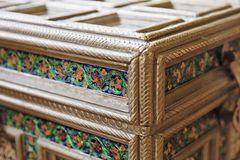 Indian Silver Engraved Enameled Banket Box Stock Image