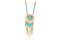 Indian silver necklace. With turquoise Stock Image