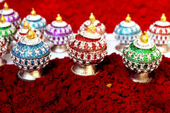 Indian sinddor and jewel box Royalty Free Stock Images