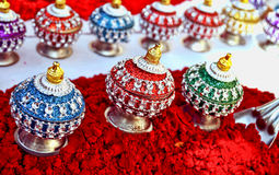 Indian sinddor and jewel box Royalty Free Stock Photos