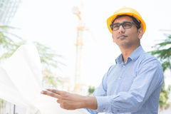 Indian site contractor engineer Stock Photo