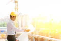 Indian site contractor engineer working Stock Images