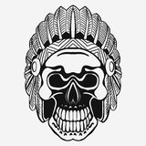Indian Skull with Tribal feather Hat. Dead Chief Royalty Free Stock Images