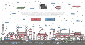 Indian skyline with national famous landmarks Royalty Free Stock Images