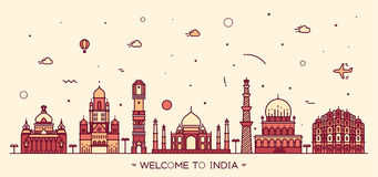 Indian skyline vector illustration linear style. Indian skyline Bangalore Mumbai Ahmedabad Delhi Hyderabad Jaipur landmarks Trendy vector illustration linear Royalty Free Stock Image