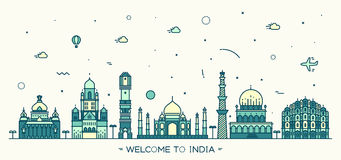 Indian skyline vector illustration linear style. Indian skyline Bangalore Mumbai Ahmedabad Delhi Hyderabad Jaipur landmarks Trendy vector illustration linear Stock Image