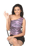 Indian   slim girl saying excellent Stock Images