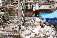 Indian Slum Area. A slum area dumped with plastic waste all around Stock Photography