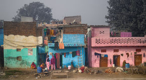 Indian slums and areas inhabited by poor Stock Photos