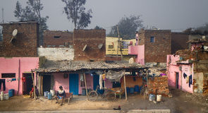 Indian slums and areas inhabited by poor Royalty Free Stock Photo