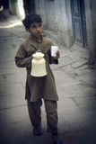 Indian small boy with milk Stock Photo