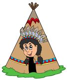 Indian in small tepee Stock Photos