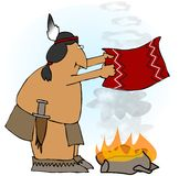 Indian Smoke Rings. This illustration depicts a Native American making smoke rings from a campfire Stock Photo