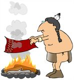Indian Smoke Signals. This illustration depicts an American Indian sending smoke signals from a campfire Stock Image