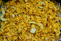 Indian Snack-Corn Flakes mixture. Is a mix of Indian fried namkeen(Snack),dry fruits and spices Royalty Free Stock Images