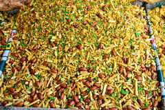 Indian Snack-Fried Mixture. Is a mix of Indian fried namkeen(Snack),dry fruits and spices Royalty Free Stock Image