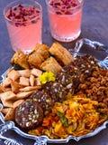 Vegan party snacks with drinks royalty free stock photos
