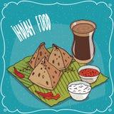 Indian snack Samosa with sauce and masala chai tea Royalty Free Stock Image