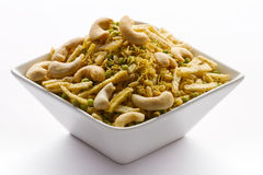 Indian Snack in white bowl isolated. Stock Photo