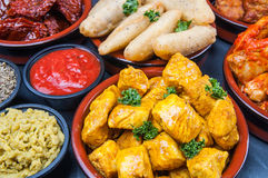 Indian snacks in bowls Royalty Free Stock Images