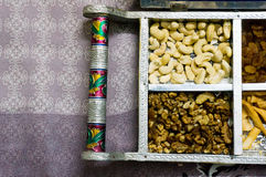 Indian snacks and dry fruits in a silver platter Royalty Free Stock Photos