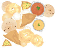 Indian snacks. An illustration of indian snacks including vegetable samosas vaada chapati idly and poori scattered on a white background Royalty Free Stock Image