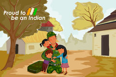 Indian soldier celebrating Happy Independence Day of India with kid. In vector Royalty Free Stock Images