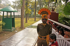 Indian soldier guarding place where Indira Gandhi was killed, I Stock Photography