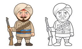 Indian soldier stands guard with a rifle in his hand. Cartoon Indian soldier stands guard with a rifle in his hand Royalty Free Stock Image