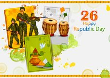 Indian soldier on 26th January, Happy Republic Day of India. In vector background Stock Photos