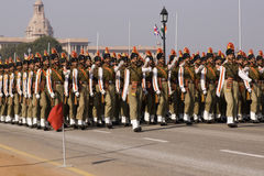 Indian soldiers marching throu Stock Image
