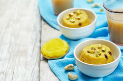 Indian Sooji mango Halwa. Toning. selective focus Stock Image