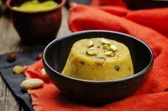 Indian Sooji mango Halwa. Toning. selective focus Royalty Free Stock Photo