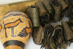Indian souvenirs. Dried calabash, rain stick and herbal tea from tropical plants Stock Images