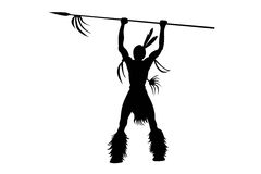 Indian with a spear Illustration Royalty Free Stock Photos