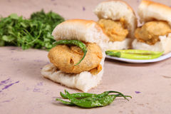 Indian special traditional fried food vada pav. Traditional fried food vada pav royalty free stock images