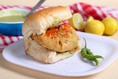 Indian special traditional fried food vada pav. Traditional fried food vada pav stock image
