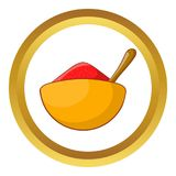 Indian spice icon. In golden circle, cartoon style isolated on white background vector illustration