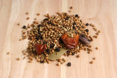 Indian spice mix on timber board Royalty Free Stock Photography