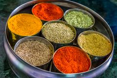 Indian spice wheel stock images