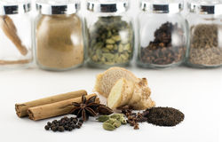 Indian spiced chai tea spices and ingredients Stock Photos