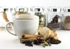 Indian spiced chai tea spices and ingredients Stock Photo