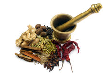 Indian Spices. Combination of various indian spices in dry form used in everyday cooking Stock Photos